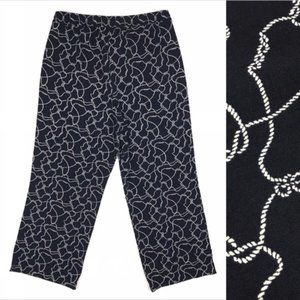 Talbots Nautical Rope Pants Knot Navy Blue Cropped